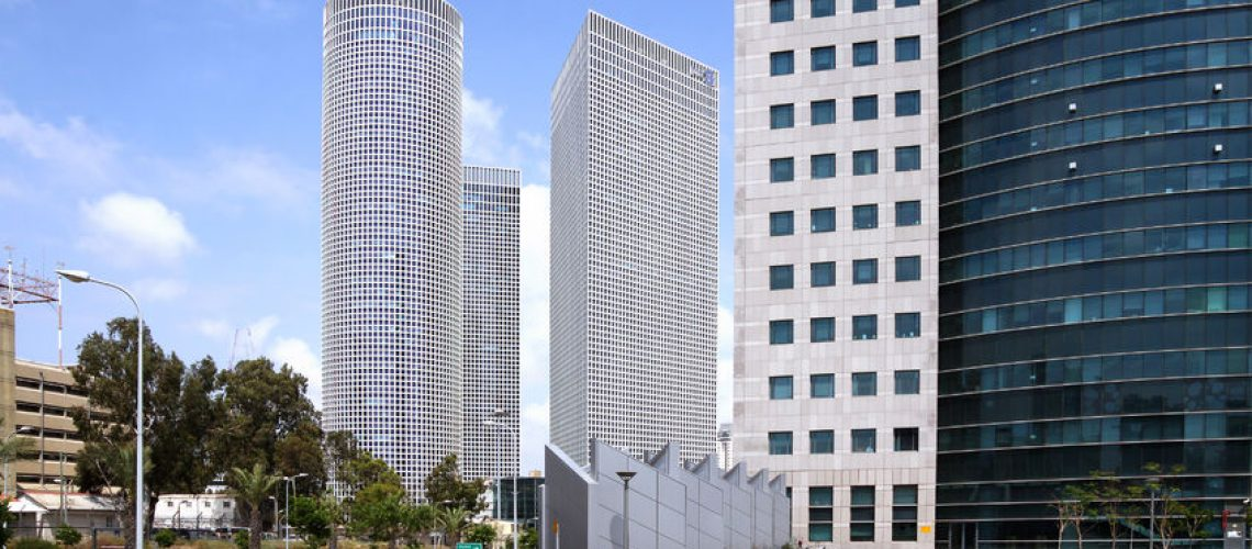 45927470 - tel aviv, israel - may 10, 2015: three high-rise azrieli in tel aviv