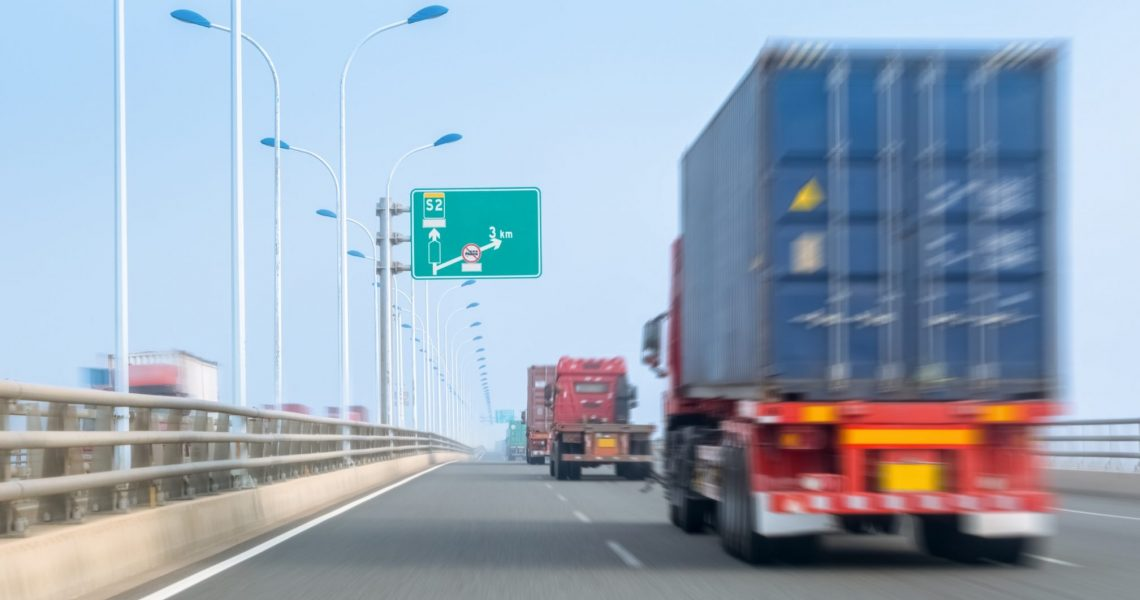 container trucks on bay bridge