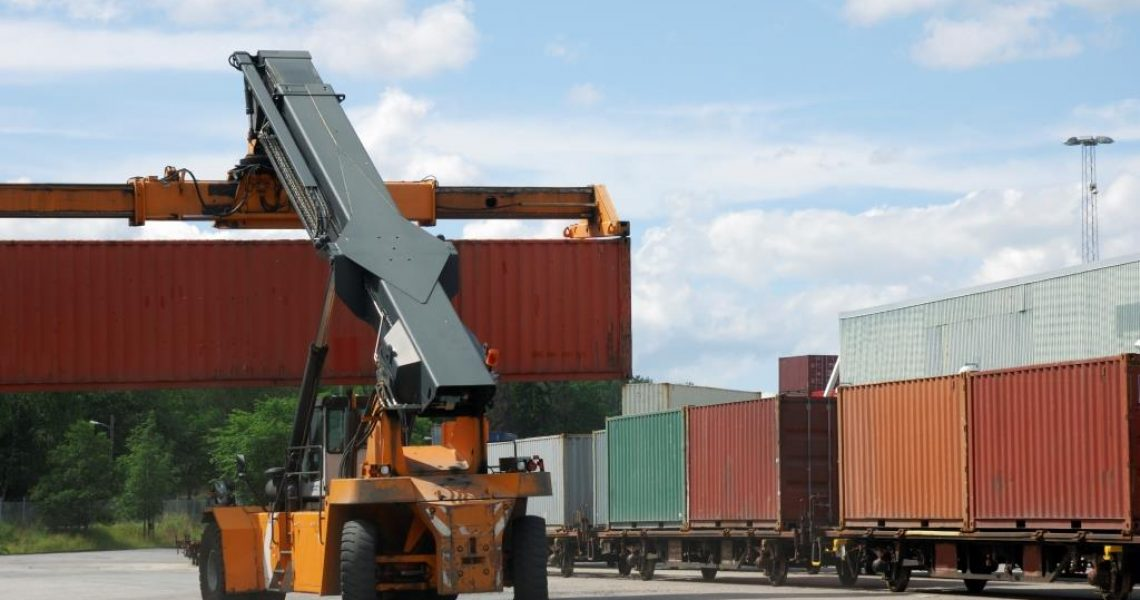forklift and containers