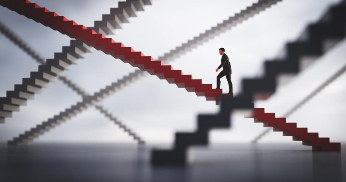 Businessman going upstairs on his selected way. Concept of business decision and making a choice. 3D illustration