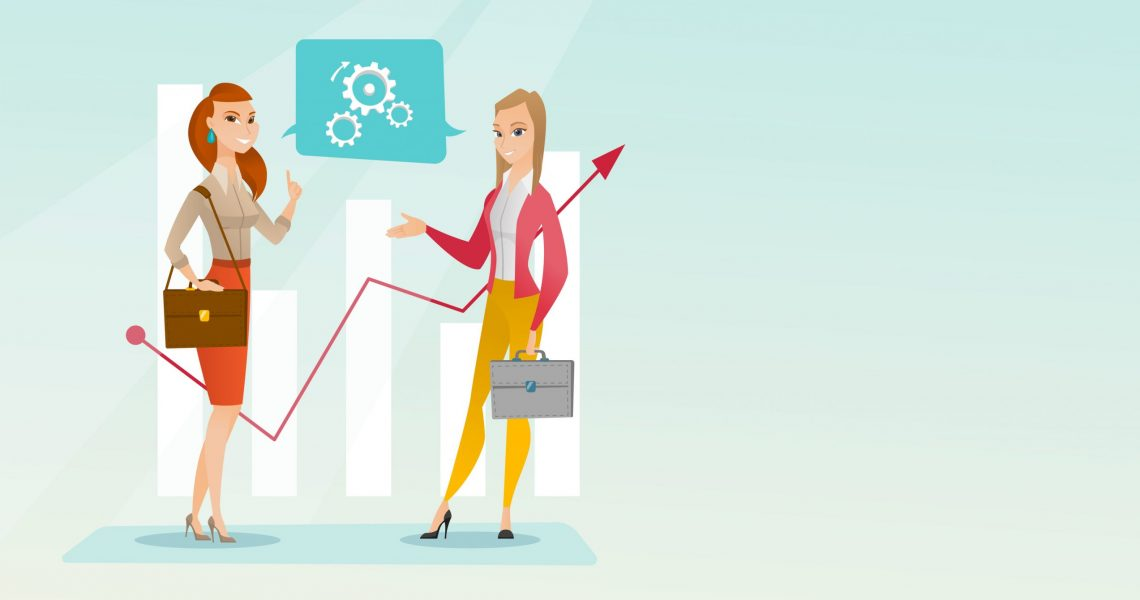 Financiers talking on the background of financial graph. Financiers discussing situation on financial market. Financiers analyzing statistical data. Vector flat design illustration. Horizontal layout.