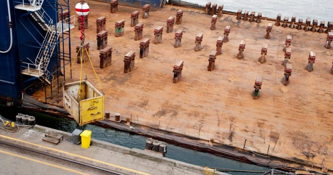 Cargo container Ship deck viewed from above